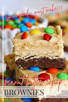 These Peanut Butter Whip Brownies are chewy, fudgy brownies topped with peanut butter whip & M&M's. Just another Yummy Bar Recipe that goes beyond delicious! Simple & easy, a must-make for sure! Best Easy Dessert Recipes, Easy Desserts, Amazing Recipes, Easy Recipes, Best Chocolate Desserts, Decadent Chocolate, Brownie Toppings, Brownie Recipes, Best Brownies