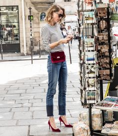 Sweating in a velvet dress? Not so cute. Accessorizing with velvet shoes and a crossbody? Adorable. Get the look here.