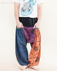 These funky harem pants are something special. The design is a mix of harem + tribal + ninja styles trimmed with hill tribe embroidery to give a unique look. Yoga Harem Pants, Funky Pants, Tribal Warrior, Hippie Pants, Patchwork Designs, Hippie Outfits, Pants Pattern, Green Stripes, Military Green