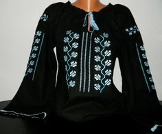Romanian Peasant Ethnic Top Tunic Embroidered Blouse all custom sizes linen or cotton Shape And Form, Peasant Blouse, Embroidered Blouse, Boho, Beachwear, Ethnic, Tunic Tops, Costume, My Style