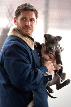 Tom Hardy, puppy love does it get any more adorable than that??! nope