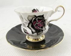 Windsor Tea Cup and Saucer with Black Roses, Black Tea Cup, Vintage Bone China