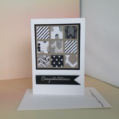 Note card with squares, using Stampin'Up! Go Wild DSP, Tip Top Taupe Cardstock, Basic Black Cardstock, Silver Embossing Powder for the sentiment from Balloon Celebration Stampset.