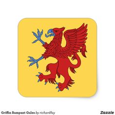 SOLD 4/7/2017 through Zazzle (via a 3rd party) to a customer in Kokomo, IN: one sheet of Griffin Rampant Gules Square Stickers.  #zazzle #sold #griffin #red_griffin #griffin_rampant #griffin_gules #griffin_rampant_gules #heraldic_griffin #gryphon