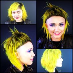 Yolandi Visser inspired hair cut with neon yellow color