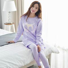 2017 Nuevo de Las Mujeres Dog Impreso Pijamas Pijamas de Dibujos Animados O-cuello Largo de la Manga de Primavera Ropa de Dormir ropa de Noche de Seda de la Leche Envío Gratis