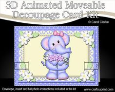 Lola the Elephant's Flowers.   A fabulous keepsake card that is simple to make but looks really stunning when made up and will WOW the recipient. A gentle push or pull on the animation bar will allow the decoupage to animate and move.    http://www.craftsuprint.com/card-making/kits/3d-animated-card-kits/3d-lola-elephants-flowers-animated-moveable-decoupage-card.cfm?r=380405