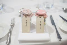 For funky favours, Michelle and Haroon filled jam jars with their favourite sweets. They were covered with print fabric and labelled with luggage tags.