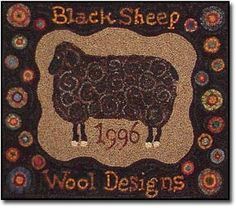 Black Sheep Wool Designs Primitive Rug Patterns for Primitive Rug Hooking, Elinor Barrett