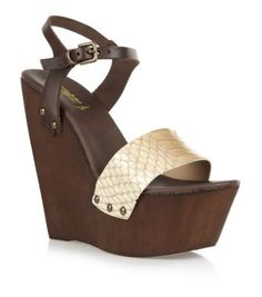 Cream Leather Snake Wooden Platform Wedges - New Look