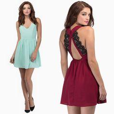 Fashion Women Sexy Dress Backless Lace Patchwork V Neck Sleeveless Evening Party Mini Dress
