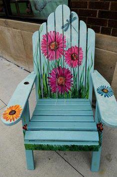 DIY Painting Outdoor Adirondack Chair Ideas - Unique Balcony & Garden Decoration and Easy DIY Ideas Painted Outdoor Furniture, Hand Painted Chairs, Painted Benches, Funky Furniture, Paint Furniture, Rustic Furniture, Furniture Makeover, Wooden Chairs, Magic Garden
