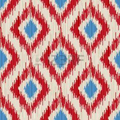Illustration of traditional ikat seamless ornament vector art, clipart and stock vectors. Textile Design, Fabric Design, Print Design, Ikat Pattern, Pattern Art, Painting Patterns, Print Patterns, Bright Paintings, Pattern And Decoration