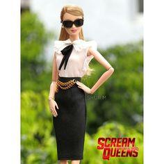 WEBSTA @ shuiimedina - Queen of KKT 👑 #screamqueens #ooak #barbiecollector #thechanels  #ChanelOberlin #EmmaRoberts #dollphotography #kkt #queens #killerstyle #dolldesigner #barbiedoll #foxseries