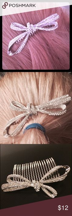 ✨ Host Pick! ✨ Crystal Bow Hair Comb! What would be a simple bow hair comb is instantly made chic by the addition of the enchanting little crystals that illuminate the bow on top of the comb. Perfect to add just the right amount of cute to any hairstyle or a great way to finish off an elegant bun for special events! It's also nickel and lead free! T&J Designs Accessories Hair Accessories