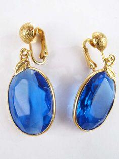 Blue Crystal Oval Drop Earrings