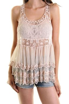 Cutout Racerback Lace Top - Blush - On Sale for $20.00 (was $33.50)