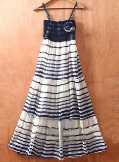 Blue Spaghetti Strap Strapless Pleated Striped Chiffon Maxi Dress US$34.40