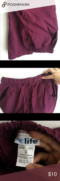 Maroon scrub pant Maroon scrub pant. Cute for clinical. Adjustable waist band. Buttons in front for design. Hip pockets. life uniform Pants
