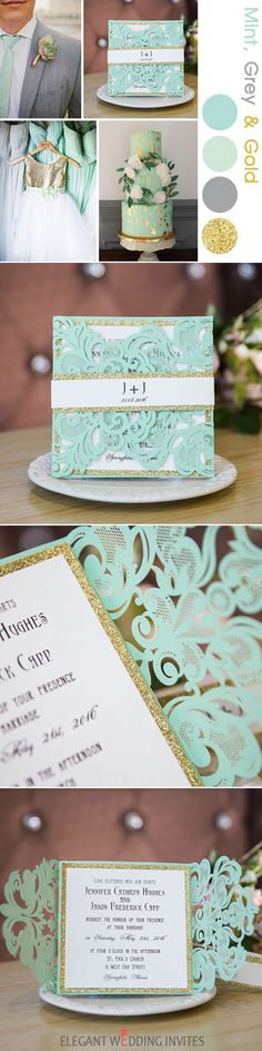 as low as $2.29 - mint green glittery laser cut wedding invitations EWWS139