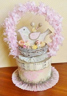 A paper cake decorated for spring.....