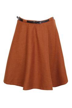 High Waist Belt Skater Skirt
