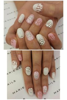 Dripping chanel nails pink and white with crystals
