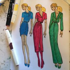 Fashion design sketch of dress by Judy Moore Perez