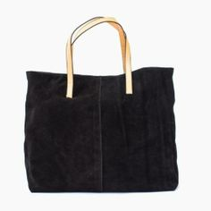 The Belltown Bag featuring soft suede exterior and a sturdy canvas interior. Reversible!