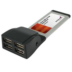 4 Port ExpressCard USB 2.0 Adapter Card is ExpressCard Adapter. ExpressCard Adapter adds four USB 2.0 compliant ports to a host computer using an available ExpressCard slot. ExpressCard USB 2.0 Adapter Card is compatible with PC and Mac.
