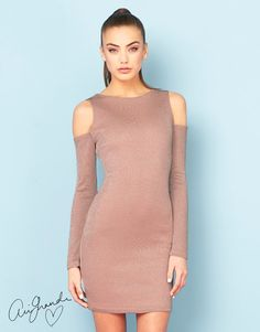 Ariana Grande For Lipsy Lace Up Cold Shoulder Dress