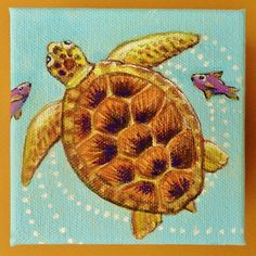 Handmade Original Seaturtle Mini Canvas Wall Art by TheCoastalSoul