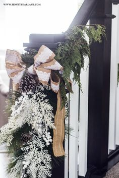 I'm so excited to be a part of this holiday home tour and share my farmhouse style home with you, all decked out for the holidays! Christmas Staircase Decor, Christmas Home, Christmas Decorations, Christmas Ideas, How To Look Better, That Look, Banisters, House Tours, Farmhouse Style