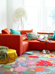 30 Bright And Colorful Room Design Ideas : Bright Living Room With Floral Rug  Red Sofa And Colorful Pillow Part 94