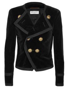 b482330cbafb29 SAINT LAURENT Cropped Double-Breasted Velvet Blazer.  saintlaurent  cloth   jackets Tailored