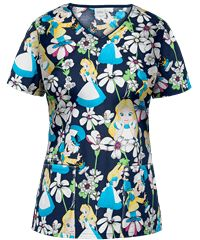 Go down the rabbit hole with the Cherokee Tooniforms Alice Looking Glass Scrub Top. Find cute disney scrubs at great prices at Uniform Advantage today! Disney Scrub Tops, Disney Scrubs, Stylish Scrubs, Uniform Advantage, Medical Scrubs, Cute Disney, Cherokee, Floral Tops, Blouse