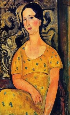 'young woman in a yellow dress' by amedeo modigliani