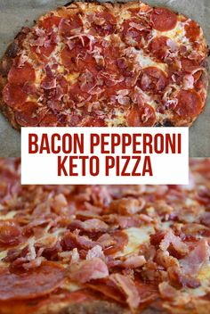 Bacon Pepperoni Keto Pizza Love pizza, but not all the carbs? You are going to love this Bacon Pepperoni Keto Ketogenic Recipes, Low Carb Recipes, Diet Recipes, Cooking Recipes, Pizza Recipes, Skillet Recipes, Cooking Tools, Keto Foods, Recipies