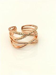 La Bella Donna - Γυναικειο δαχτυλιδι ροζ χρυσο με στρας