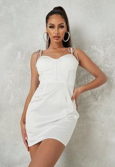 a cami corset mini dress with diamante tie straps and bust cup detail. regular fit mini - sits mid thigh 100% polyester Jamilla wears a UK size 8 / EU size 36 / US size 4 and her height is 5'8
