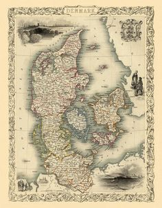 The map of Denmark 1851 - print ----------- The image for this print was digitally enhanced for best appearance. Most of the folding signs were