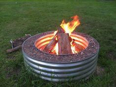 {corrugated metal-pipe fire pit} #lakehouse #farmhouse