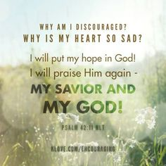 """""""Why, my soul, are you downcast? Why so disturbed within me? Put your hope in God, for I will yet praise him, my Savior and my God."""" Psalm 42:11 NIV"""