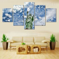 Statue Of Liberty Before The Blue Clouds - 5 Piece Canvas