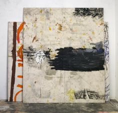 Oscar Murillo - Untitled (stack paintings), oil, dirt and oilstick on canvas in 2 parts
