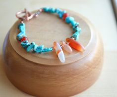 Turquoise and Carnelian Bracelet Southwest style by AlaskaDaisy