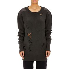 Adidas Originals by Kanye West Women's Destroyed Sweater ($409) ❤ liked on Polyvore featuring tops, sweaters, black, dark grey, crewneck sweaters, oversized crew neck sweater, distressed sweater, crew sweater and ripped sweater