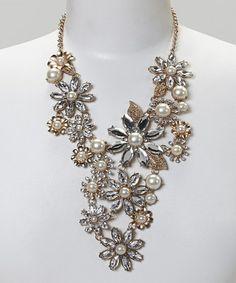 Look what I found on #zulily! Gold & Crystal Flower Cascade Bib Necklace #zulilyfinds