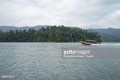 Stock Photo : Boat Moving On Sea By Trees Against Sky