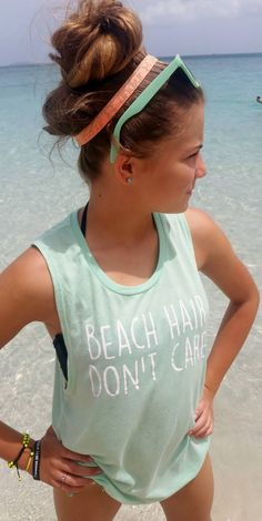 Muscle Tank  Beach Hair Don't Care  Womens by MakeItPersonalbyMM